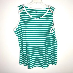 Riders by Lee teal and white striped tank top 2X